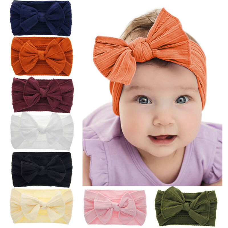Hot Baby Headband Kid Girl Baby Broad Accessories Toddler Cotton Linen Fashion Bow Hemp Pattern Hair Band Solid Photo Props