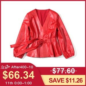 Image 2 - Vermelho jaqueta de couro genuíno feminino plus size real pele carneiro preto rosa roxo casaco de couro feminino outerwear