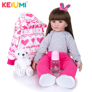 Long Hair KEIUMI 24 Inch Cloth Body Reborn Baby Dolls Soft Silicone Bebe Reborn Dolls Toy Birthday XMAX Gift To Your Child(China)