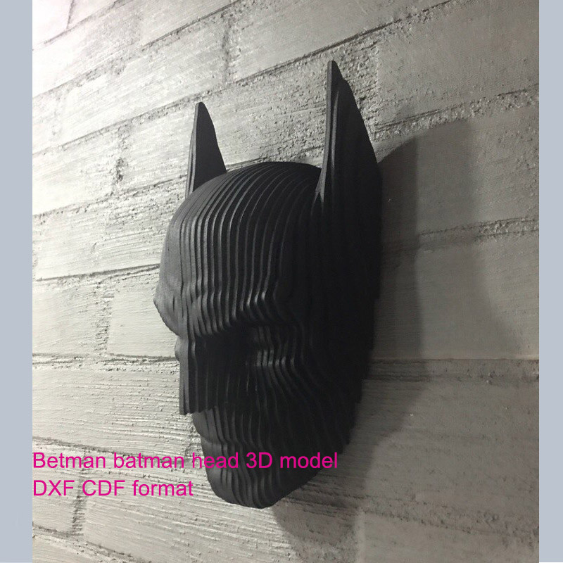 Batman Betman Head 3D Model CNC Laser Cutting File Cdr Dxf Format File Vector Design Drawing