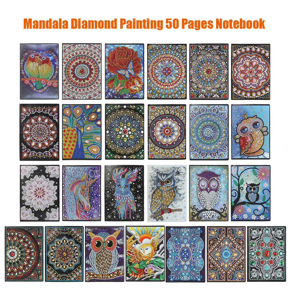 DIY Mandala Special Shaped Diamond Painting KIts 50 Pages Sketchbook A5 Notebook
