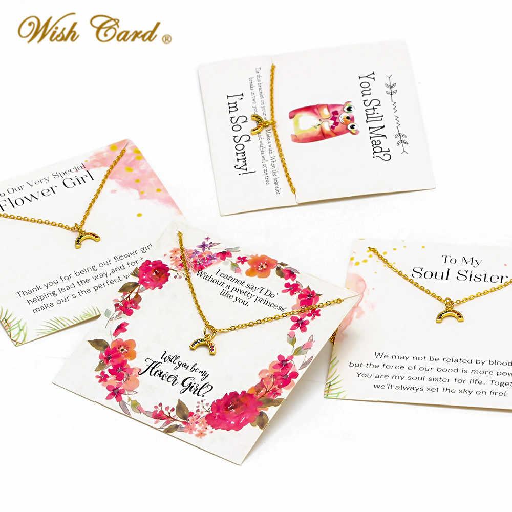 Karta życzeń moda mikro betonowa tęcza naszyjnik dla kobiet zrobić karta życzeń naszyjnik biżuteria siostra przyjaciele prezent CN281