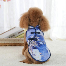 Songyue Cherry Blossoms Printed Pet Clothes New Chinese Style Cheongsam Tang Suit Dresses Skirts For Pet Dog Puppy Pet Products(China)