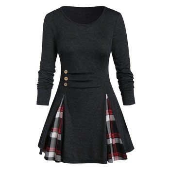 Womail Shirt Women Autumn Winter Long Sleeve Tartan Tunic Pullover Tops Irregular Plaid Print Pullover Blusas Feminina Plus Size 2