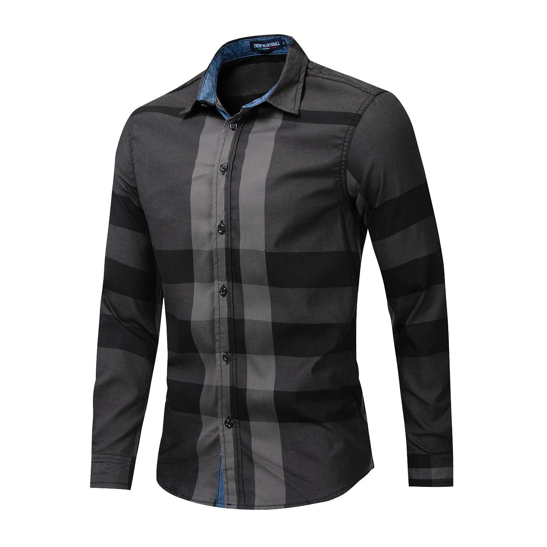 Men Shirt Long Sleeve Casual Vertical Plaid Shirts Mens Chemise Homme 2020 Long Sleeve Casual Slim Fit Shirts 100% Cotton Shirts 4
