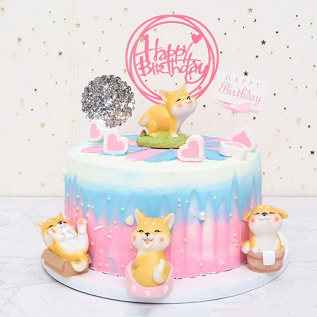 Cute Cartoon Cake Topper Animal Miniature Figurine Cake Topper Decorations Home Garden Decoration Crafts Home Desktop Decoration 6