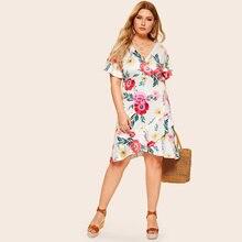 Plus Size Summer Women Casual Solid Short Sleeve Sundress Asymmetrical Dress Female Bohemian Knee Length Fashion Dress Women plus asymmetrical solid dress