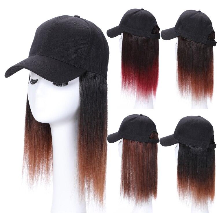 Hat Wig Human Hair Bobo Wig Head With Baseball Hat Short Straight Human Hair Wig
