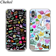 Funny Cute Graffiti Mobile Phone Cases for IPhone X XS MAX XR 8 7 6s Plus Luxury Case Soft Silicone TPU Back Covers Accessories