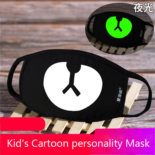 Kids Cartoon Mask Cotton Dustproof Anime Kpop Lucky Bear Girls Boys Glow In Dark Skull Mouth Masks Black Mouth Half Muffle Mask 1