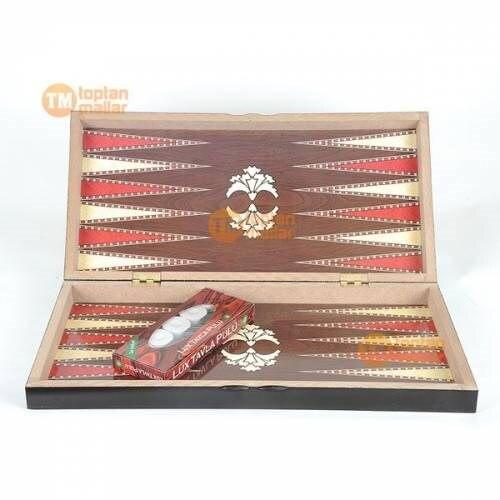 De Madera juego de habilidad de Backgammon turco, otomano juego de gran tamaño 48x48 tamaño personalizado diseño de Backgammon - 2