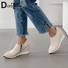 купить DORATASIA Brand New Fashion Big Size 34-40 Pointed Toe INS Hot Zip Women Shoes Woman Casual Soft Autumn Spring Flats Female дешево