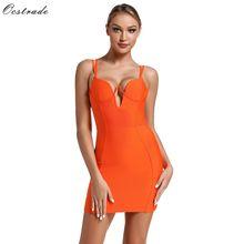 女性のネオンオレンジ包帯ドレスセクシーなスパゲッティストラップミニ包帯ドレスボディコンパーティー夜クラブドレス 夏 2019 Ocstrade