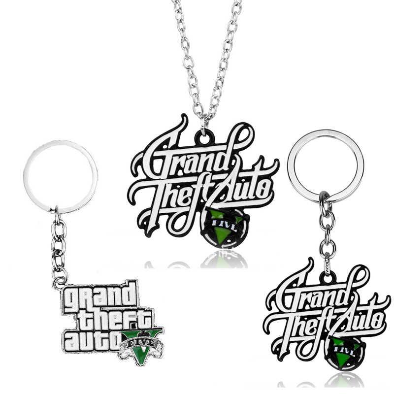 Gran oferta de Llavero de coche PS4 GTA V Grand, Llavero de Robo de coche 5, Llavero de Xbox PC, Rockstar para hombres y niños, joyería de regalo, Llavero para Fans