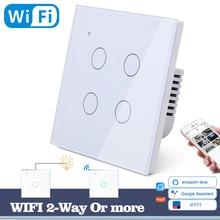Interruptor de pared con luz táctil y WIFI para el hogar, interruptor de pared con luz LED blanca, azul, Universal, 4 entradas, 2 vías, relé redondo, Alexa y Google Home