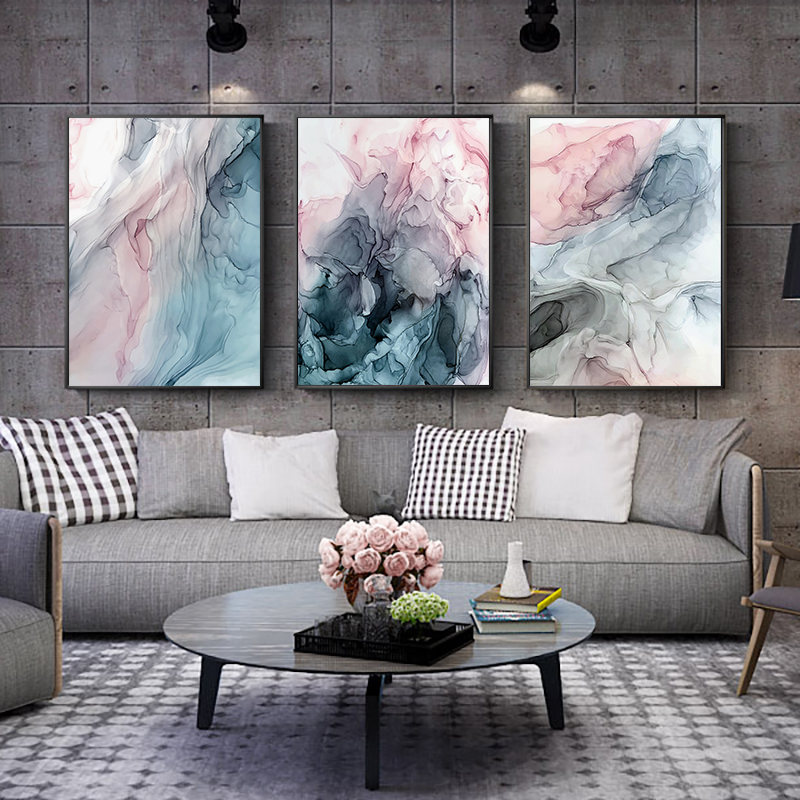 Постер на холсте с цветными чернилами, современная абстрактная настенная живопись, скандинавские постеры и принты, настенные картины для г...