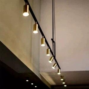 Image 3 - ゴールドメッキランプシェード Led スポットライトペンダントランプ現代デザインスポットダイニングルームゴールド金属サスペンション照明器具