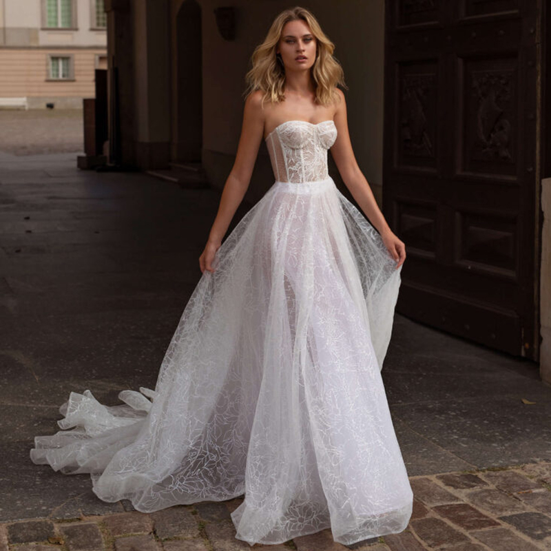 Verngo Boho Wedding Dress 2020 Sparkling Weeding Dresses Backless A Line Wedding Gown Bride Dress Vestido Noiva Trouwjurk