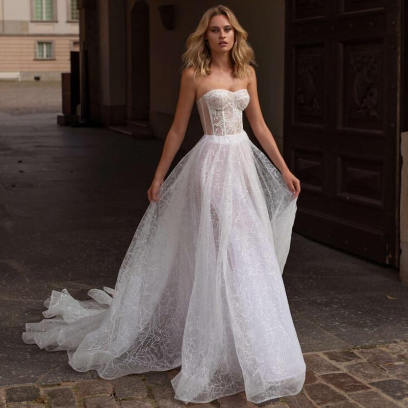 Verngo Boho Wedding Dress 2020 Sparkling Weeding Dresses Backless A Line Wedding Gown Bride Dress Vestido Noiva Trouwjurk