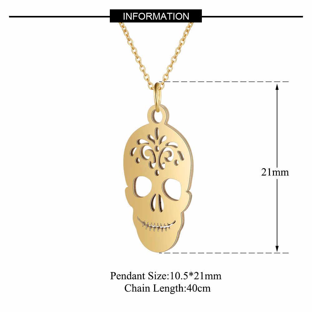 AAAAA качество 100% из нержавеющей стали уникальный череп Шарм ожерелье для женщин никогда не ювелирные изделия tarnish ожерелье высокого польского специального подарка