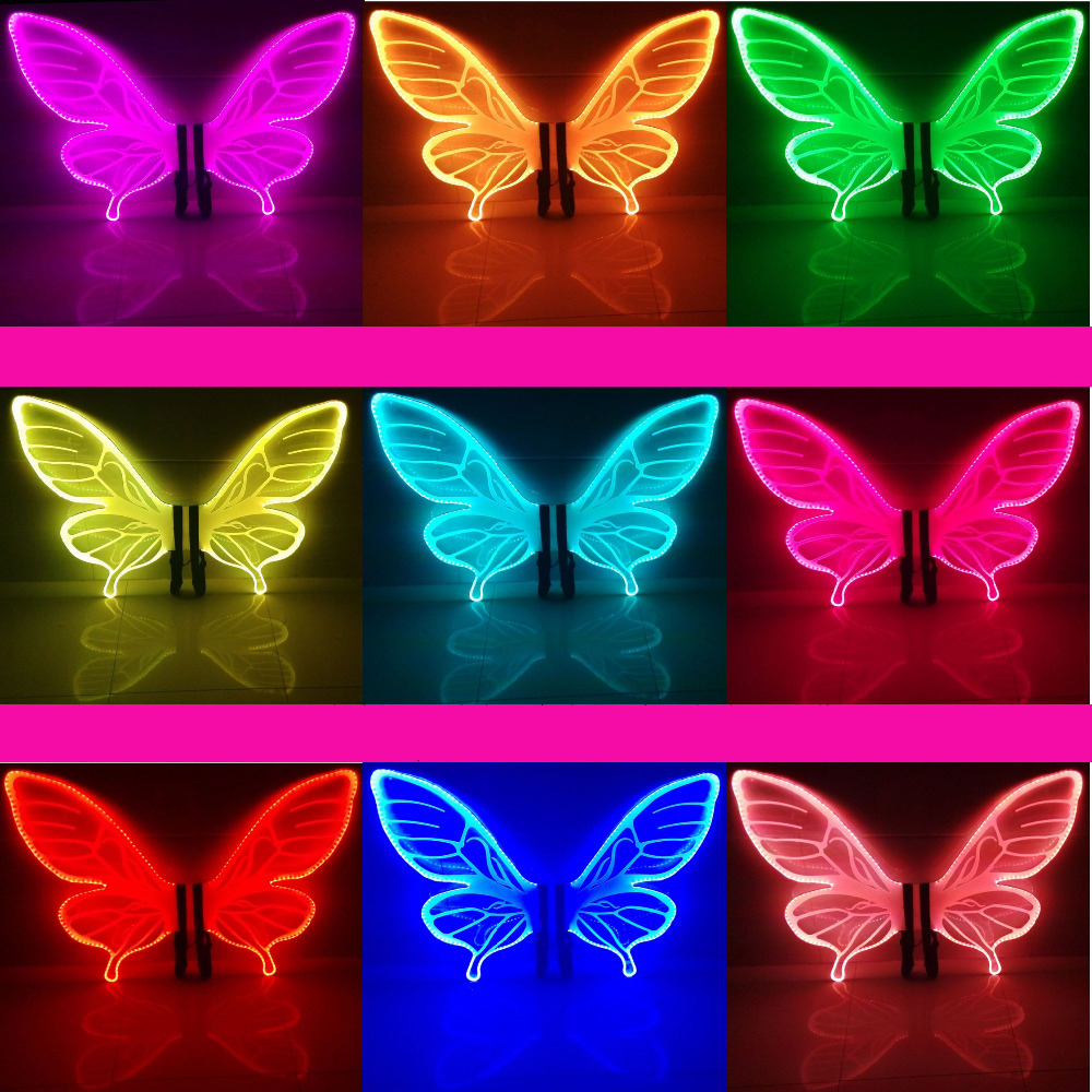 LED Wings Glowing LED Butterfly Wing Fashion Women Lady Luminous Angel Wings Catwalk Show Clothing Light Suits Dance