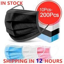 10-200 pièces masque jetable masque noir Nonwove 3 couche bouche masque filtre Anti poussière respirant protection adulte masques masque