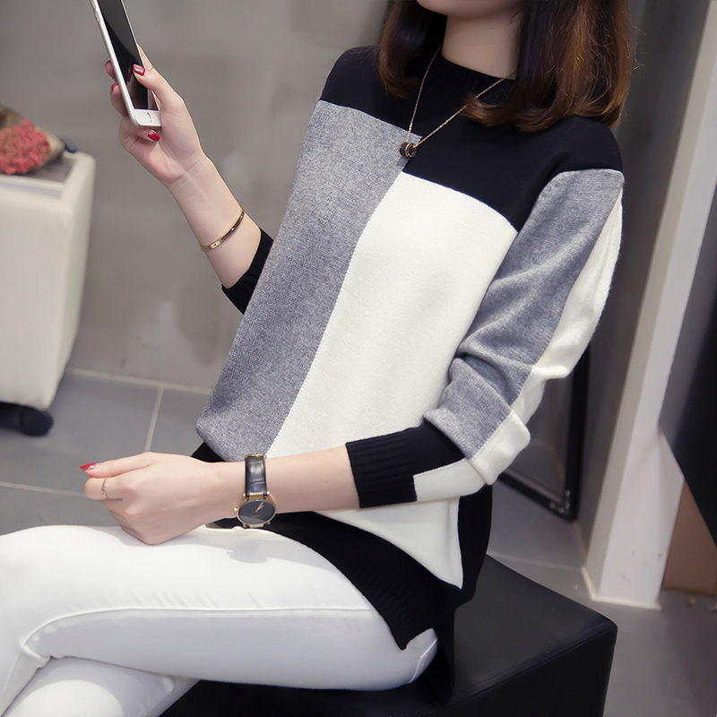 Large Size Women's Sweater 2020 Spring Autumn New Splice Color Block Pullover Female Bottoming Shirt Casual Knitwear Blusa Tops