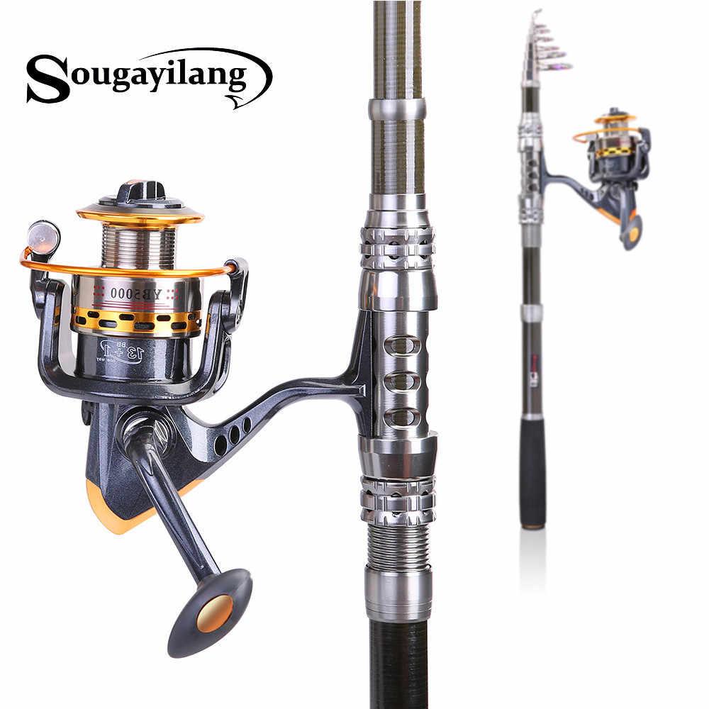 Girando Telescópica Conjunto Vara De Pesca E Pesca Da Carpa Carretel Sougayilang 1.8 m-3.3 m Fundição de Carbono Vara De Pesca Do Mar varas de pesca