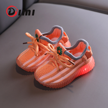 DIMI bebek Light Up ayakkabı nefes örgü bebek bebek ayakkabısı kaymaz şeffaf yumuşak alt bebek ayakkabı kız erkek