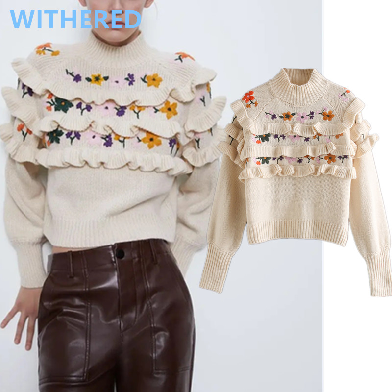Withered 2020 Sweaters Women England Indie Folk Vintage Cascading Floral Embroidery Loose Short Sweaters Women Pullovers Tops