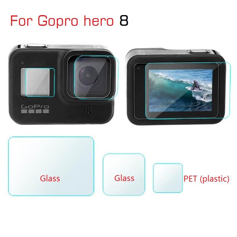 Clownfish For Gopro Hero 8 Black Lens Film LCD Screen Protector Protection Film Tempered Glass Lens Cap/Cover For Gopro 8 Camera