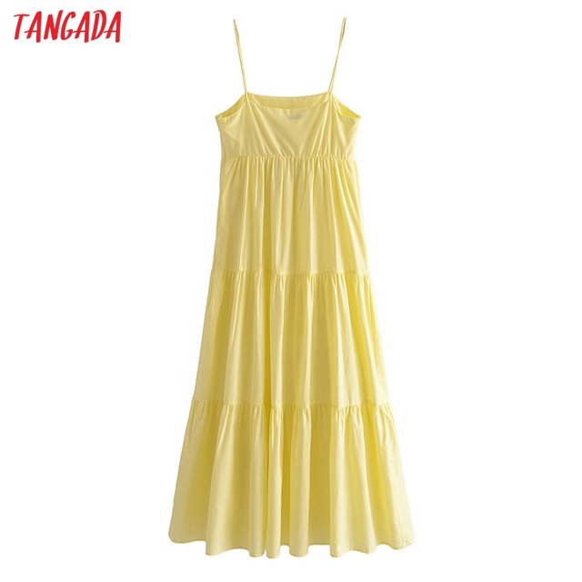Tangada Women Solid Yellow Cotton  Long Dress Strap Sleeveless Side Zipper 2021 Fashion Lady Elegant Dresses Vestido 3H319 5