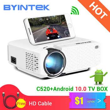 BYINTEK C520 Mini HD Projektor (Optional Android 10 TV Box),150 zoll Heimkino, tragbare LED Proyector für Telefon 1080P 3D 4K