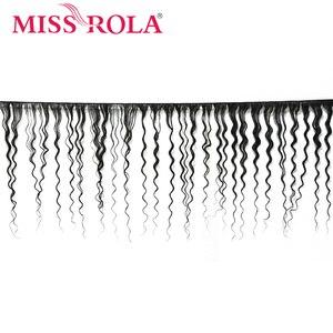 Image 2 - Miss Rola волосы малазийские глубокая волна 3 пряди с закрытием натуральный цвет 100% человеческие волосы 8 26 дюймов не Remy волосы для наращивания