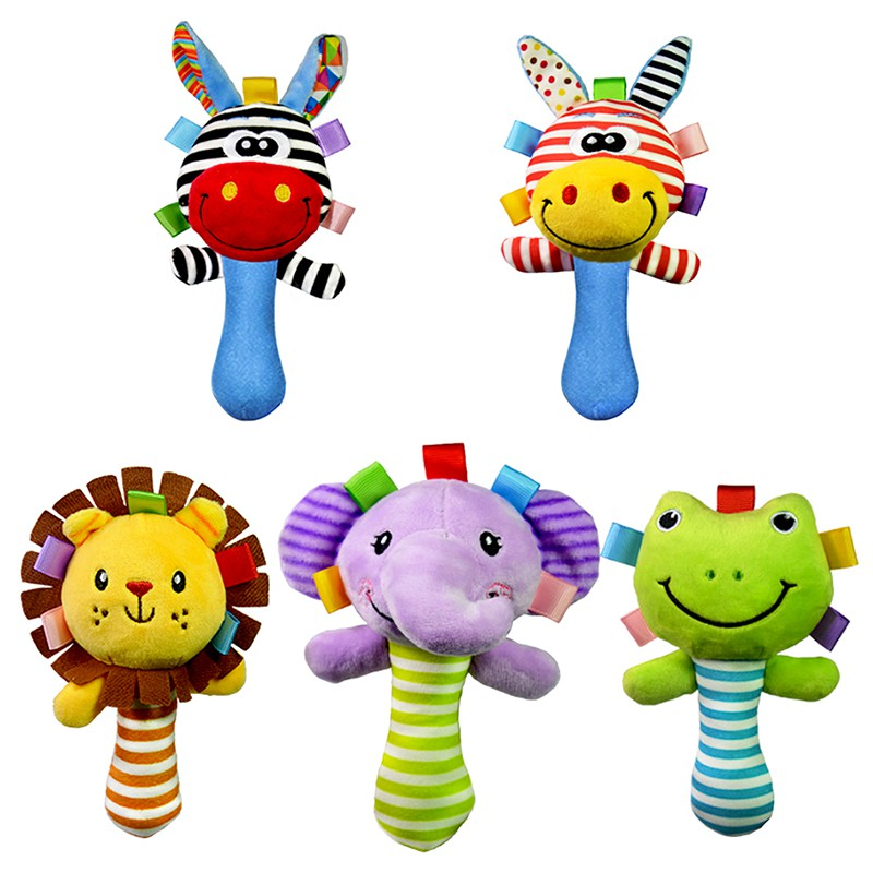 Cute Baby Rattles Animal Handbell For Kids Baby Education Learning Toys Rattle Toys Musical Handbell Giafaffe/Frog/Lion