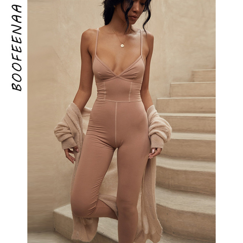BOOFEENAA V Neck Bodycon Jumpsuit For Woman Sexy Casual Cotton Loungewear Overalls Rompers Women Fall Clothing 2019 C92-AB09
