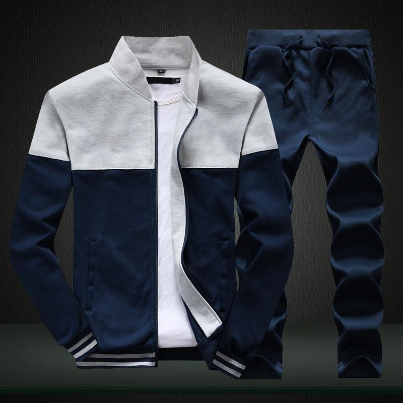 2020 New Men Sets Fashion Sporting Suit Brand Patchwork Zipper Sweatshirt +Sweatpants Mens Clothing 2 Pieces Sets Slim Tracksuit 5