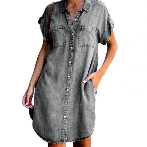 Women's Summer Fashion Solid Turn Down Neck Blue Jeans Denim Shirt Dress Short Sleeve Pockets Single-breasted Women's Jean Dress 7