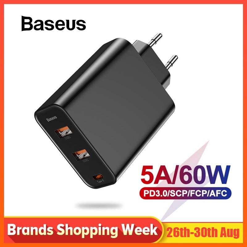 Baseus 3 Portas USB Charger com PD3.0 Carregamento Rápido Para iPhone X XR Xs Max 60W Carga Rápida 4.0 para Redmi Nota Redmi 7 k20 pro