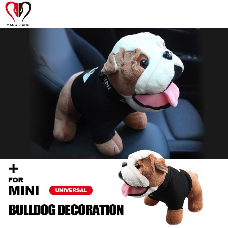 New For mini cooper bulldog Fashion Cool decoration lovely Bulldog Style Plush cotton Toy Mini Cooper Car Interior Accessories