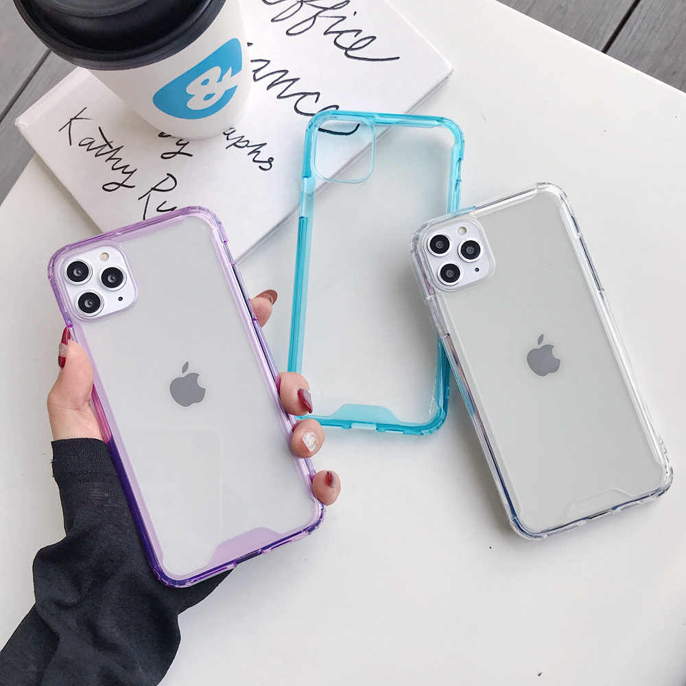 Anti-Knock Transparan Case untuk iPhone 12 Pro Max 8 7 6 6S Plus Tahan Guncangan Case untuk iPhone 11 Pro X XS Max XR SE 2020 Bumper