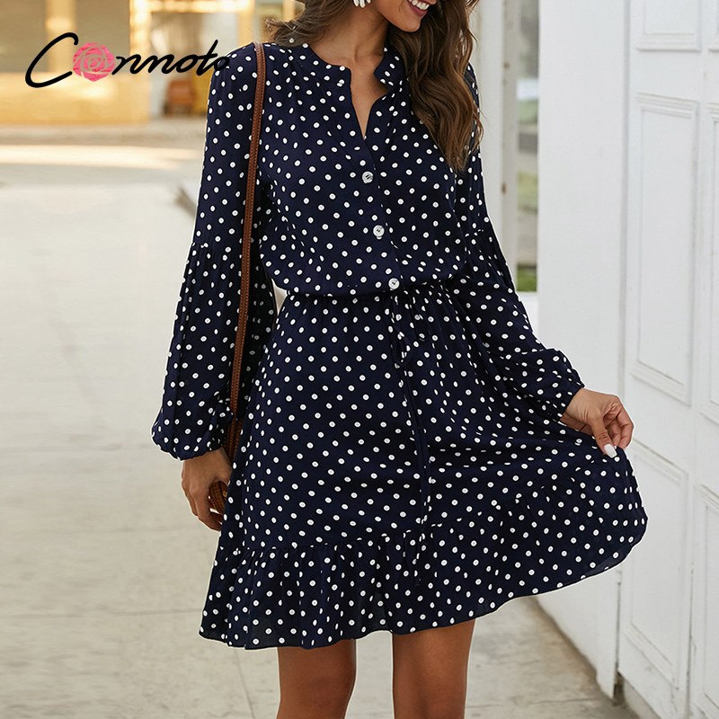 Conmoto Polka Dot Casual Beach Summer 2020 Dresses Women Ruffles Short Vintage Dress Retro High Fashion Dresses Vestidos