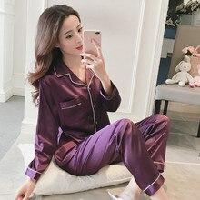 Пижамы для женщин, шелковая атласная пижама, Дамская мода, домашний костюм, осенняя пижама с длинным рукавом, комплект из двух предметов, домашняя одежда, большие размеры
