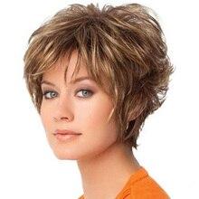 Женские Короткие вьющиеся парики, парик из термостойкого волокна с челкой, парик из термостойкого волокна смешанных цветов для ежедневного...