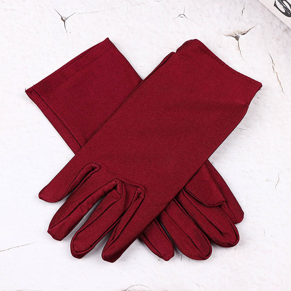 1 Pair Fashion Women Wrist Length Gloves Sexy Black White Red Short Satin Stretch Gloves for Ladies Girls Hand Gloves