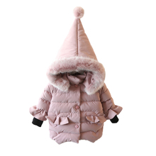 Girls Jacket Cotton Lovely Thick Hooded Long Sleeve Coat For Baby