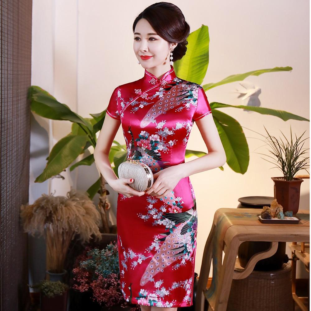 Hot Pink Peacock Women Traditional Chinese Dress Mandarin Collar Classic Cheongsam Vintage Button Sexy Vestidos Big Size 3XL-6XL