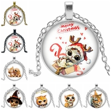 2019 New Hot Sale All Kinds of Cute Small Animal Pattern Series Glass Convex Round Pendant Necklace Popular Jewelry Gift