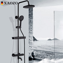 Bathroom Shower Set Themostatic Rain Waterfall Brass Shower Faucets Set Head Bath black Mixer with Hand Shower Faucet Rainfall