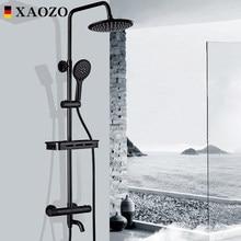 Bathroom Shower Set Themostatic Rain Waterfall Brass Shower Faucets Set Head Bath black Mixer with Hand Shower Faucet Rainfall